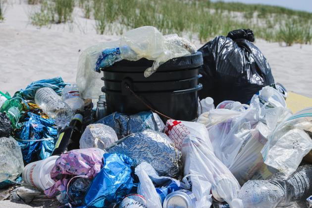 A pile of plastic collected along a small stretch of beach on Long Island, NY. This beach didn't have garbage receptacles, so visitors frequently dump their trash behind with no regards for the local wildlife. If you visit a beach like this, make sure you pack out what you brought in! And use less plastic in the first place.